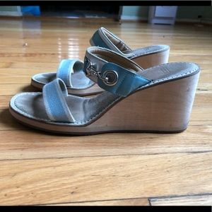 Coach powder blue buckle wedge